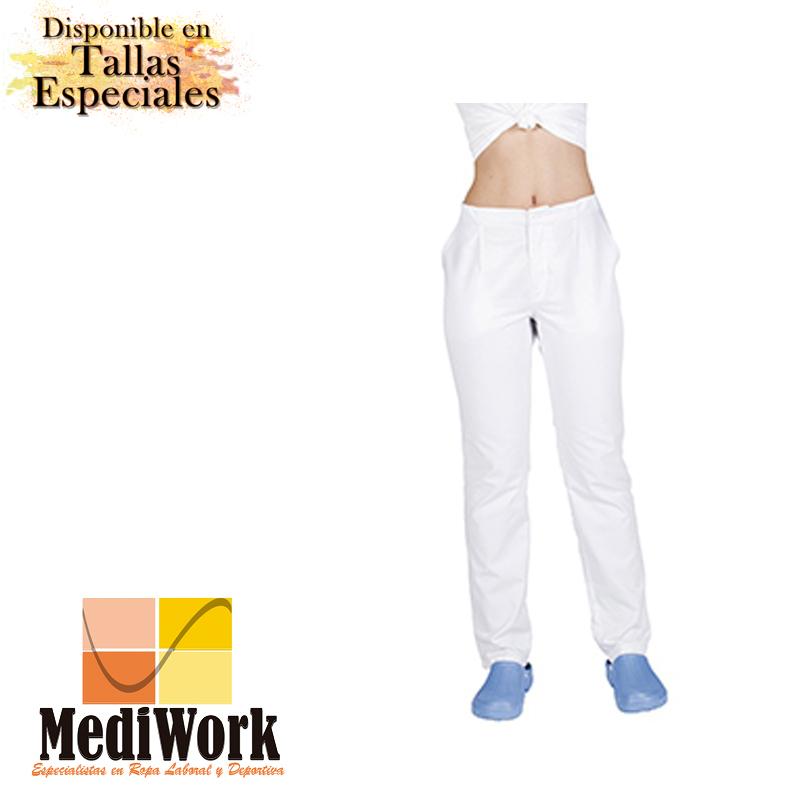 Pantalón blanco unisex con cremallera y bolsillos 772A 02