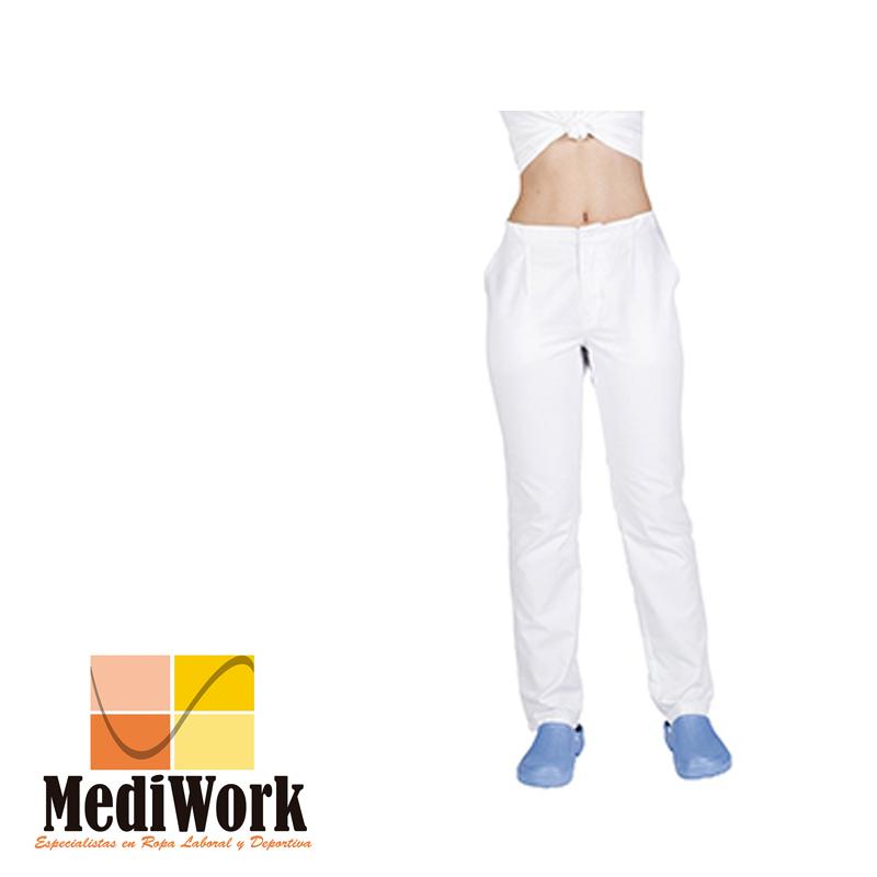 Pantalón blanco unisex con cremallera y bolsillos tallaje especial 772B 02