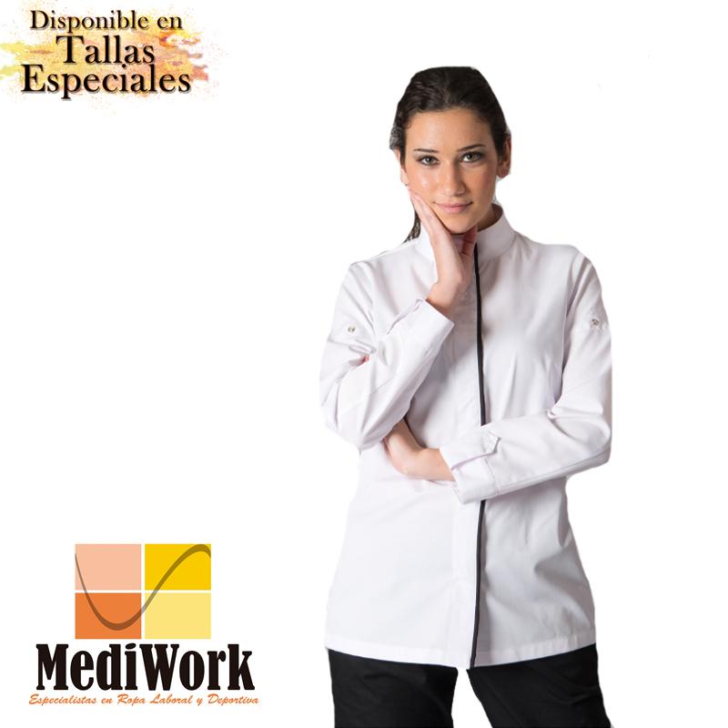Chaqueta Cocina Blanca Mujer Medina 948700 02 Mediwork Especialistas En Ropa Laboral Y Deportiva