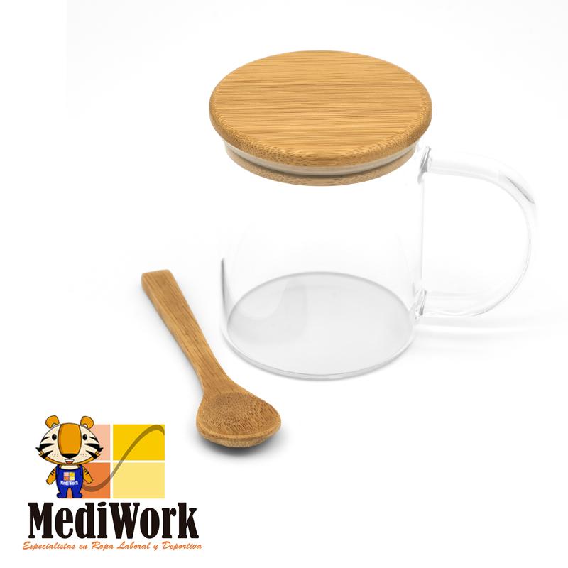 Taza de cristal con tapa y cuchara COCO 4081 03