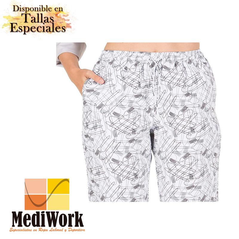 Pantalón goma + cordón exterior microfibra estampada 7012A 02