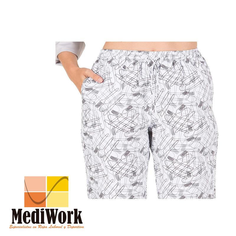 Pantalón goma + cordón exterior microfibra estampada tallaje especial  7012B 02