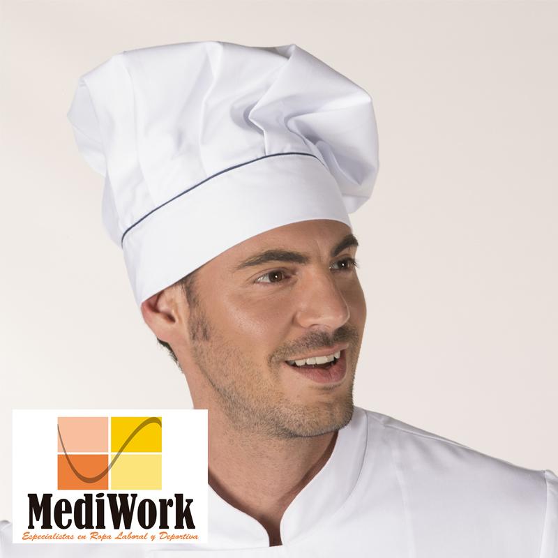 Gorro chef con velcro blanco y vivo color 4486 02